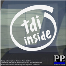 1 x TDI Inside-Window,Car,Van,Sticker,Sign,Vehicle,Turbo,Charged,Direct,Injection